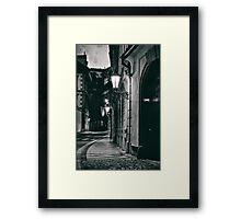 Prague evening empty street Framed Print