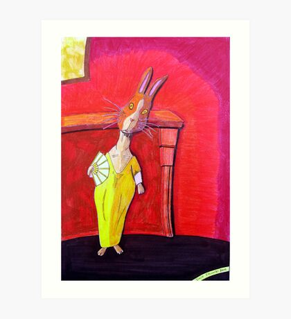 299 - MODIGLIANI BUNNY - DAVE EDWARDS - COLOURED PENCILS & INK - 2010 Art Print