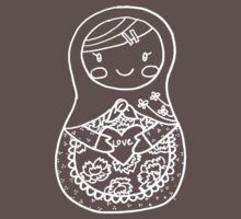 Love Russian Doll in White Outline Baby Tee