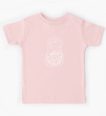 Love Russian Doll in White Outline Kids Tee