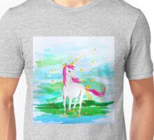 Unicorn Pink Mane Gold Ribbons Unisex T-Shirt