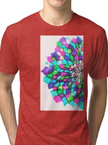 Stained glass effect Flower inked water Doodle Tri-blend T-Shirt