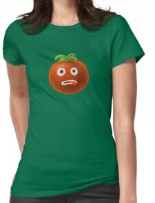 Green Funny Cartoon Tomato Womens Fitted T-Shirt
