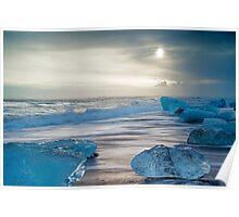 Icebergs Jokulsarlon Beach Iceland Poster