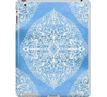 White Gouache Doodle on Pearly Blue Paint iPad Case/Skin