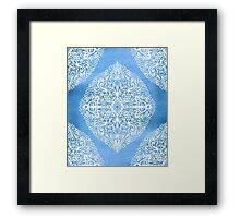 White Gouache Doodle on Pearly Blue Paint Framed Print