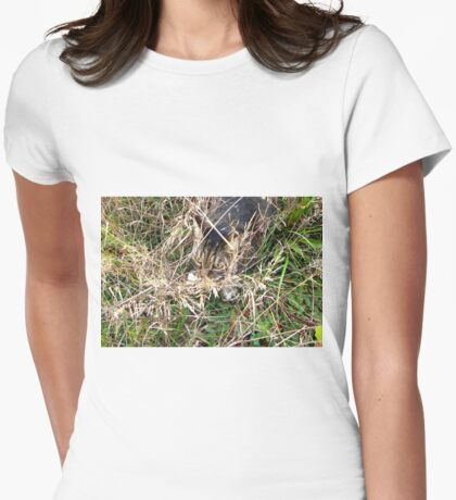 He Will Never See Me Here Womens Fitted T-Shirt