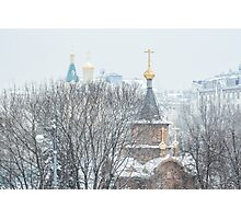 Chapel in the snow Photographic Print