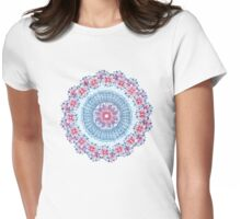 Red, Blue & White Floral Medallion Womens Fitted T-Shirt