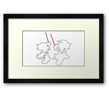 Hedgehogs with lightsabers  Framed Print