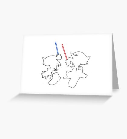 Hedgehogs with lightsabers  Greeting Card