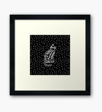 Cute Cat Typography Black White Polka Dots  Framed Print