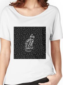 Cute Cat Typography Black White Polka Dots  Women's Relaxed Fit T-Shirt