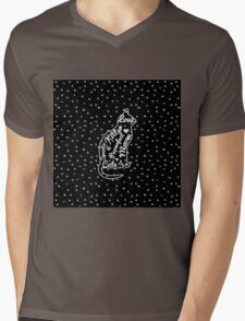 Cute Cat Typography Black White Polka Dots  Mens V-Neck T-Shirt