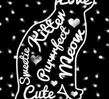 Cute Cat Typography Black White Polka Dots  Sticker