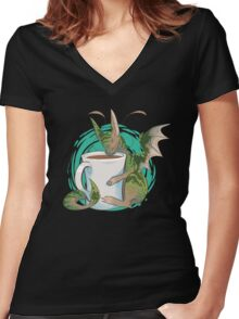 Domestic Dragons: Tea Lover Women's Fitted V-Neck T-Shirt