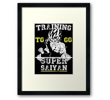 TRAINING TO GO SUPER SAIYAN (new) WHITE  Framed Print