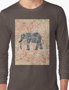Tribal Paisley Elephant Colorful Henna Pattern Long Sleeve T-Shirt