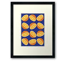 Orange Pattern - Blue Framed Print