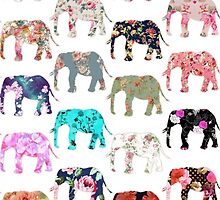 Girly Whimsical Retro Floral Elephants Pattern by GirlyTrend