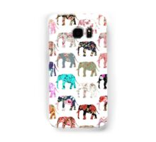 Girly Whimsical Retro Floral Elephants Pattern Samsung Galaxy Case/Skin
