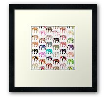 Girly Whimsical Retro Floral Elephants Pattern Framed Print