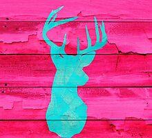 Hipster Teal Blue deer head Hot Pink Vintage Wood by GirlyTrend