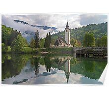 Church on Lake Bohinj Slovenia Poster