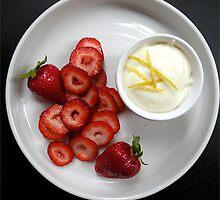 Rosewater Strawberries + Lemon Ricotta Cream by MsGourmet
