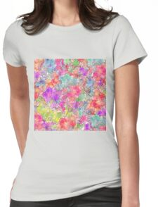 Bright Pink Red Watercolor Floral Drawing Sketch Womens Fitted T-Shirt