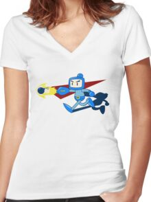 The Blue Bomber (man) Women's Fitted V-Neck T-Shirt