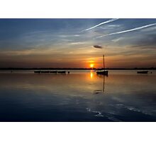 Boats on the lake at sunset Photographic Print