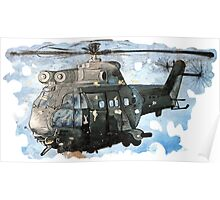 Helicopter Gunship with background  Poster