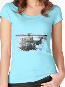 Helicopter Gunship with background  Women's Fitted Scoop T-Shirt