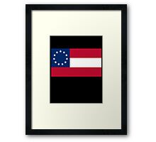 Stars & Bars, USA, America, First American National Flag, 11 stars, 1861 on black Framed Print