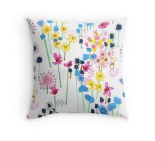 July Floral Garden Throw Pillow