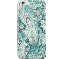 Fig Leaf Fancy - a pattern in teal and grey iPhone Case/Skin