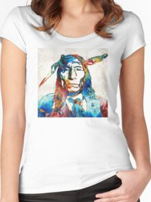 Native American Art - Warrior - By Sharon Cummings Women's Fitted Scoop T-Shirt