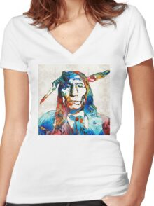 Native American Art - Warrior - By Sharon Cummings Women's Fitted V-Neck T-Shirt
