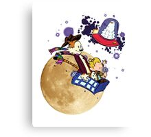 Calvin and Hobbes Moon Canvas Print