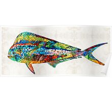 Colorful Dolphin Fish by Sharon Cummings Poster