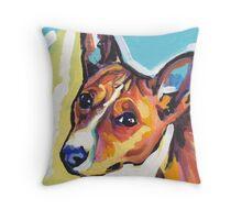 Basenji Bright colorful pop dog art Throw Pillow