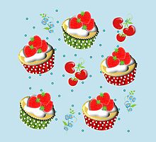 Cute Strawberry And Cream Cup Cakes Pattern by Artification