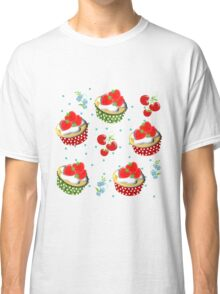 Cute Strawberry And Cream Cup Cakes Pattern Classic T-Shirt