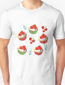 Cute Strawberry And Cream Cup Cakes Pattern Unisex T-Shirt