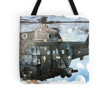 Helicopter Gunship with background  Tote Bag