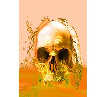 Golden Skull in Water Photographic Print