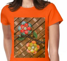 Wall Flowers on Brick Womens Fitted T-Shirt