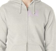 Pink Celled Ribbon Zipped Hoodie