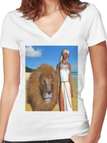 Walking on the Beach Women's Fitted V-Neck T-Shirt